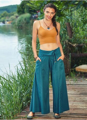 Düşük Bel Düğmeli Petrol Kadın Bol Paça Pantolon