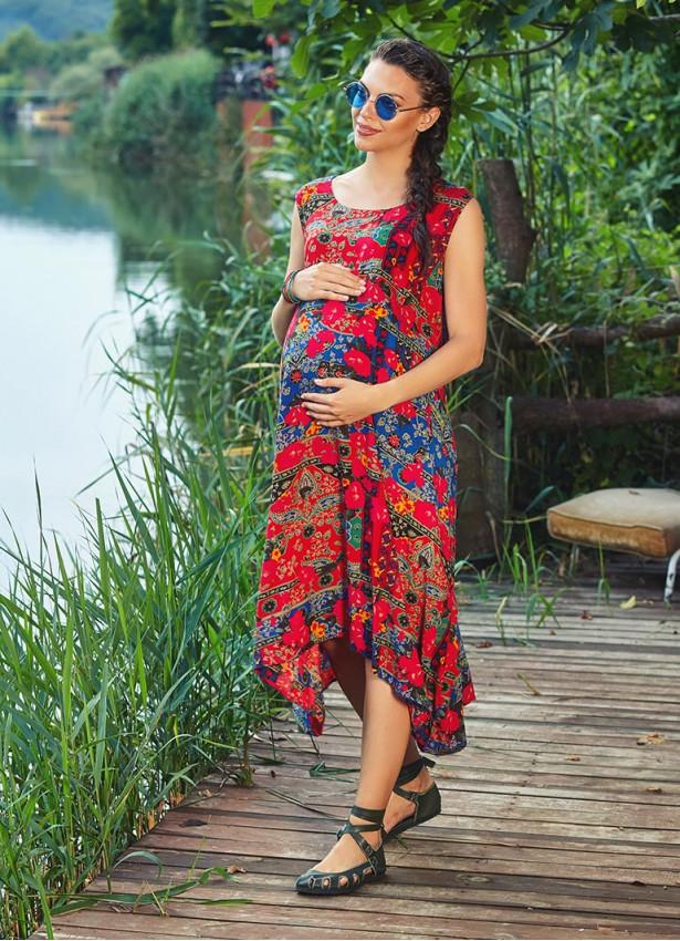 Etnik Desenli Ön ve Arka Bağlamalı Hamile Elbise