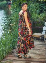 Çiçek Desen Kayık Yaka Kolsuz Siyah Hamile Elbise