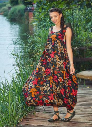 Çiçek Desenli Kayık Yaka Cepli Uzun Siyah Elbise