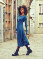 Kayık Yaka Parmak Geçmeli Kışlık Petrol Elbise