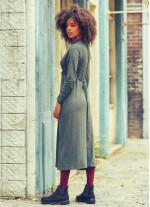 Ön Roba Detaylı Bağcıklı V Yaka Kışlık Haki Elbise
