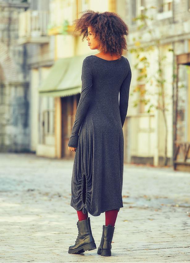 Kayık Yaka Parmak Geçmeli Kışlık Antresit Elbise