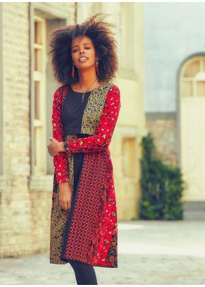 Etnik Desen Kayık Yaka Büzgülü Uzun Kollu Elbise