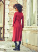 Ön Robalı Beli Bağcıklı V Yaka Kışlık Bordo Elbise