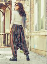Lastikli Bel ve Paça Yeşil Çizgili Şalvar Pantolon