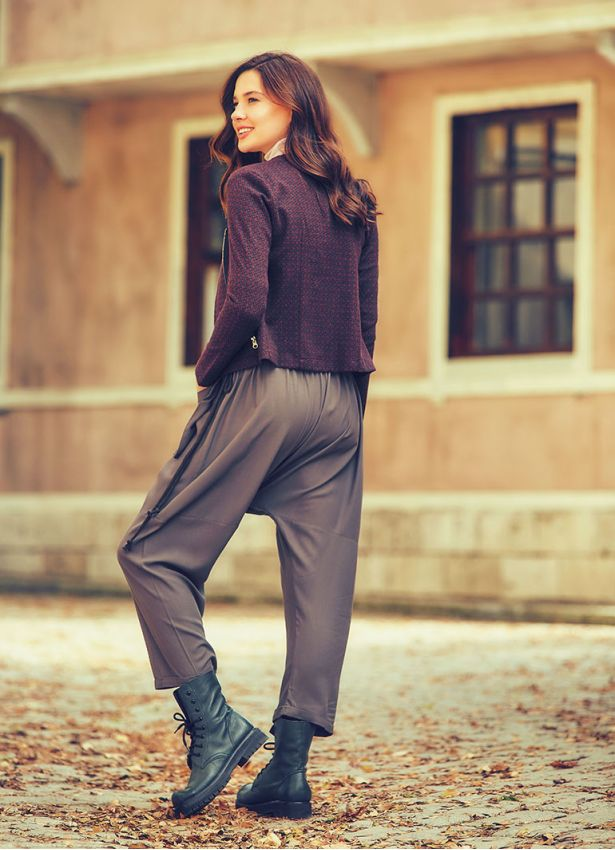 Dış Cepli Bağcıklı Dökümlü Füme Şalvar Pantolon
