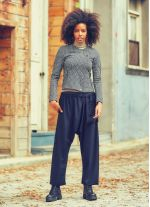 Dış Cepli Bağcıklı Dökümlü Siyah Şalvar Pantolon