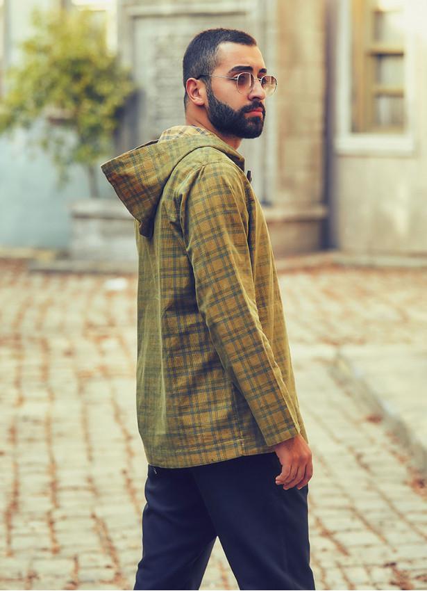Çoban Düğme Detaylı Kapşonlu Yeşil Erkek Gömlek