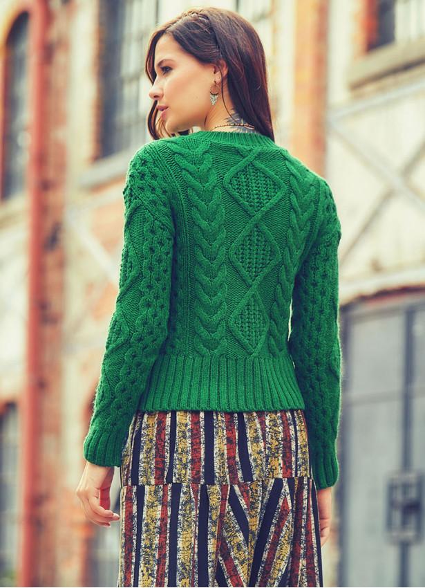 Bohem Tarz Triko Örme Kadın Yeşil Kazak