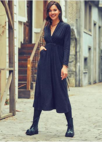Ön Robalı Bağcıklı V Yaka Kışlık Antresit Elbise