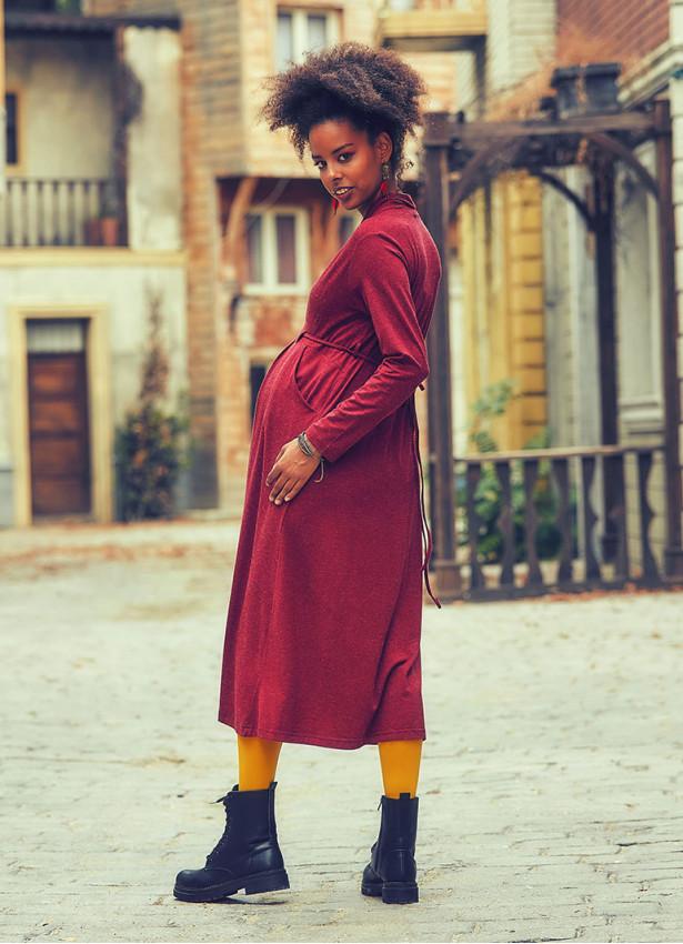 Ön Robalı Bağcıklı V Yaka Bordo Hamile Elbise