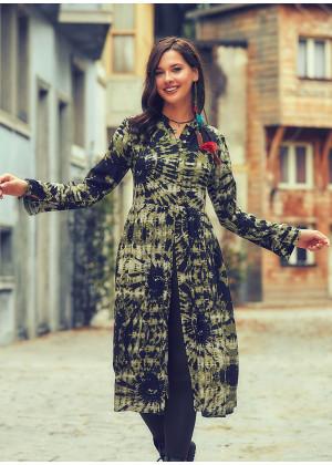 Batik Desenli Hakim Yaka Uzun Yeşil Tunik Elbise