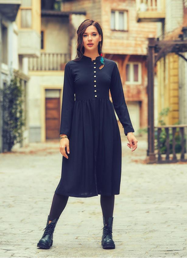 Otantik Hakim Yaka Uzun Siyah Tunik Elbise