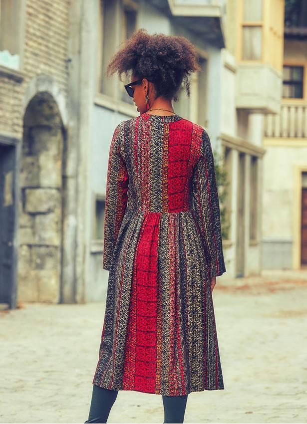 Otantik Desenli Gri Patchwork Tunik Elbise