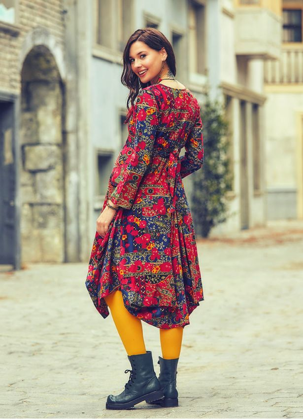 Etnik Desenli V Yaka Balon Etekli Hamile Elbise