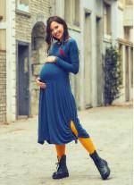 Kayık Yaka Parmak Geçmeli Petrol Hamile Elbise