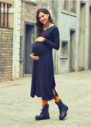 Kayık Yaka Parmak Geçmeli Hamile Füme Elbise