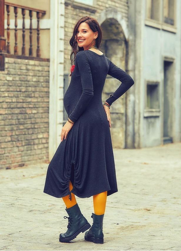Ön Robalı Bağcıklı V Yaka Antresit Hamile Elbise