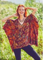 Kayık Yaka Omzu Bordo Çiçekli Tunik Bluz
