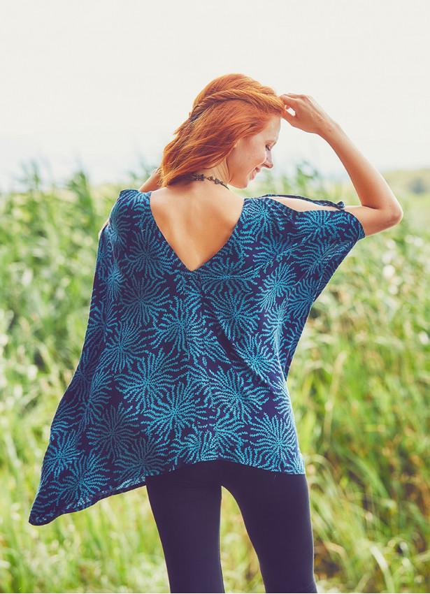 Kayık Yaka Omzu Deniz Yıldızı Tunik Bluz