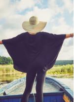 Bohem Tarz Kayık Yaka Siyah Bluz