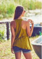 Halter Yaka Tunik Yeşil Bluz
