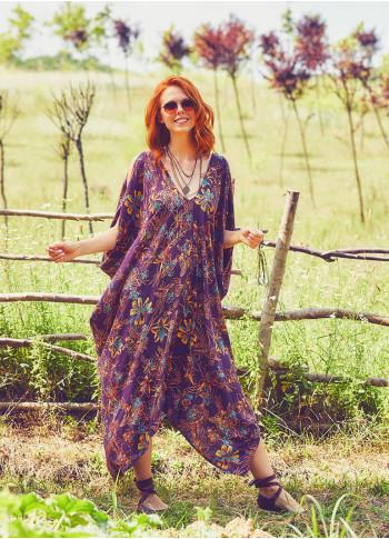 Mor Zambak Desenli Sırt Dekolteli Bohem Yazlık Elbise