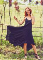 İp Askılı Siyah Elbise