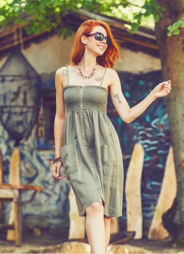 Askılı Günlük Haki Elbise