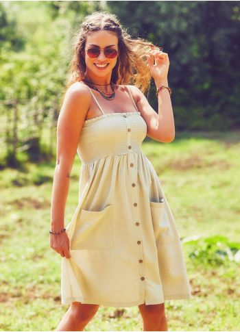 Askılı Günlük Krem Elbise