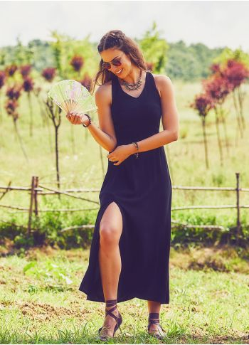 Halter Yaka Maxi Siyah Elbise