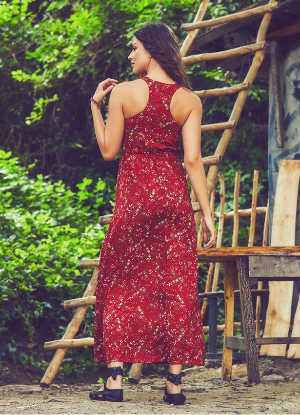 Halter Yaka Maxi Kırmızı Yonca Elbise