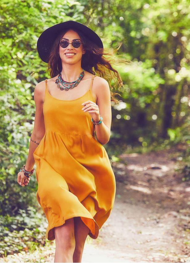 Yazlık Askılı Hardal Elbise