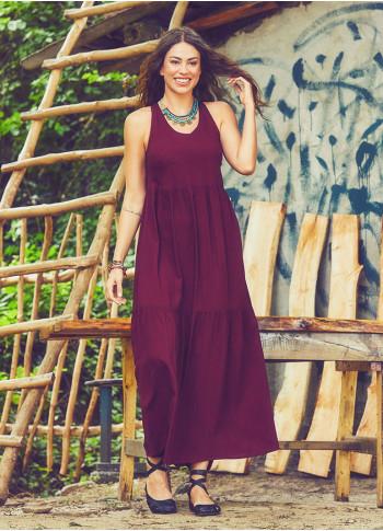 Yazlık Uzun Bordo Elbise