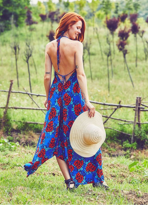 Saks Çiçekli Sırtı Açık Elbise