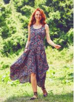 Asimetrik Etek Ucu Kayık Yaka Cepli Larci Stella Elbise