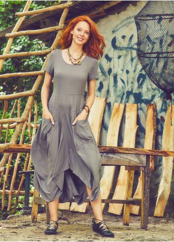 Cepli Yarım Kollu Uzun Vizon Elbise