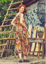 Bohem Kayık Yaka Cepli Uzun Günlük Bej Çiçekli Elbise