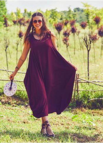 Havuz Yaka Bohem Tarz Geniş Askılı Bordo Elbise