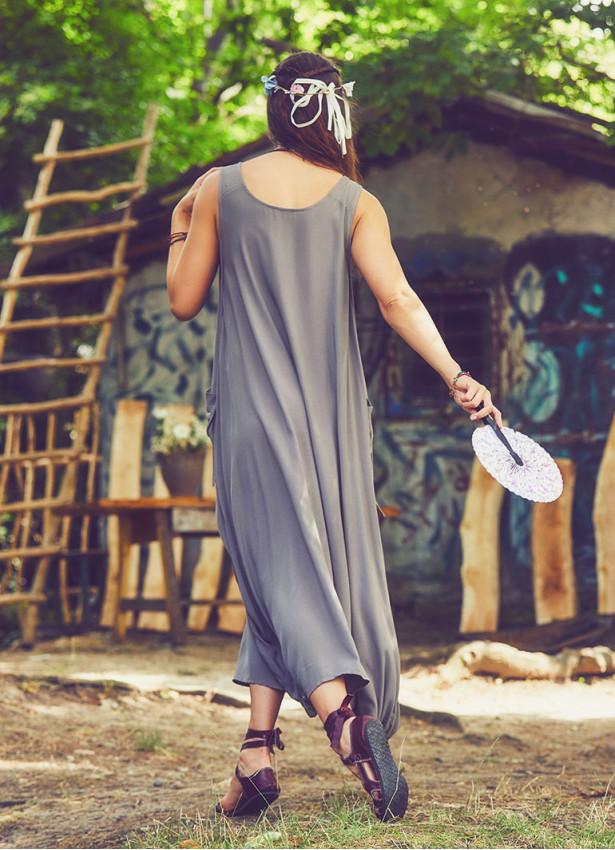 Bohem Kayık Yaka Cepli Uzun Günlük Vizon Elbise