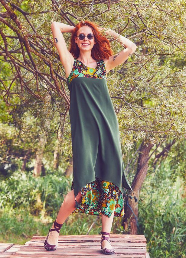 Otantik Bohem Yeşil Elbise