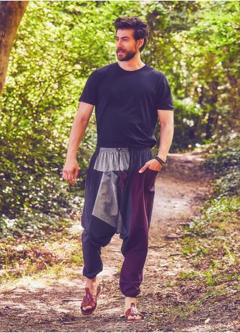 Bağcıklı Paçası Lastikli Bordo Erkek Şalvar Pantolon
