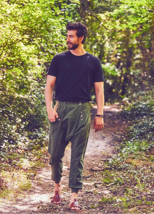 Kruvaze Düğmeli Elastik Paça Haki Erkek Şalvar Pantolon