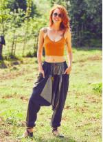 Bağcıklı Etnik Sarı Kadın Şalvar Pantolon