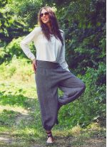 Dökümlü Beli Lastikli Tribal Desen Kadın Şalvar Pantolon