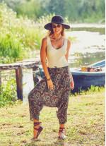 Haki Stella Desenli Kadın Kapri Şalvar Pantolon