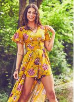 Şortlu Tulum Hardal Çiçekli Elbise