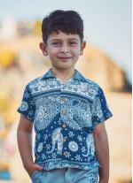 Çocuk Desenli Rahat Kesim  Gömlek