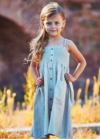 Çocuk Askılı Günlük Krem Elbise